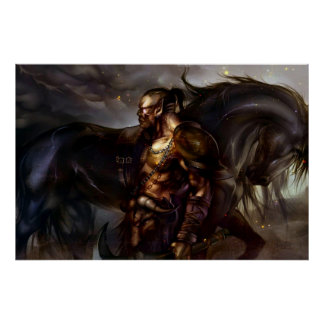 Viking och hästaffisch poster