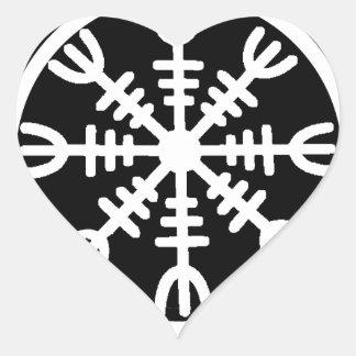 Viking roder av Awe Hjärtformat Klistermärke