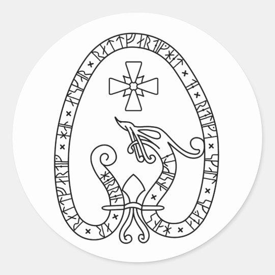 Viking Rune Stone black and white Runt Klistermärke