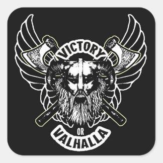 Viking - seger eller Valhalla klistermärkear Fyrkantigt Klistermärke