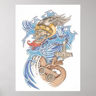 Viking seglar affischen print