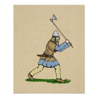 Viking som hanterar bilaaffischen poster