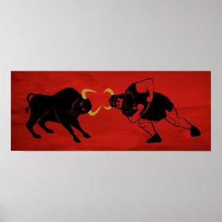 Viking som kolliderar med en tjur affisch