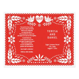 Vikt program för Papel Picado röd bröllop fiesta