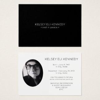 vila i begravnings- bönkort för fred visitkort