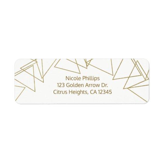 Vild en modern glamour för guld- geometriska returadress etikett