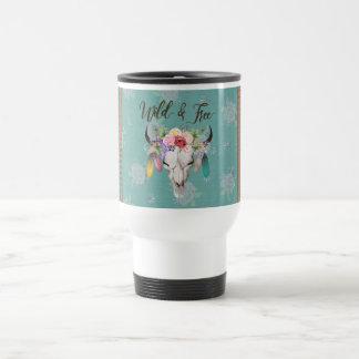 Vild & fri Boho travel mug (urblekt turkos) Rostfritt Stål Resemugg