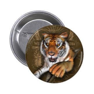 Vild om tigrar standard knapp rund 5.7 cm