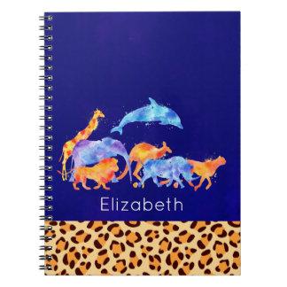 Vilda djur med en Leopardtryckgräns Anteckningsbok Med Spiral