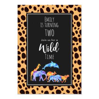Vilda djur på exotisk Cheetahtryckfödelsedag 12,7 X 17,8 Cm Inbjudningskort