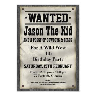 Vilda western önskade affischfödelsedaginbjudan anpassade inbjudningskort