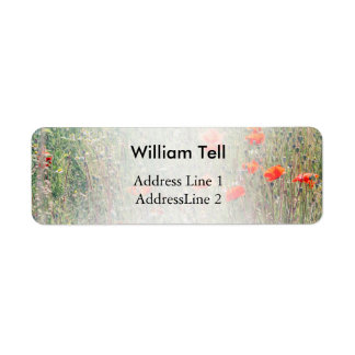 Vildblommafält och rött blomma för vallmor returadress etikett