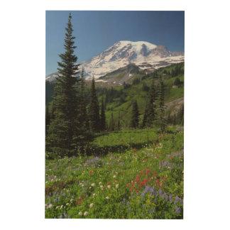 Vildblommar på Mount Rainier Trätavla