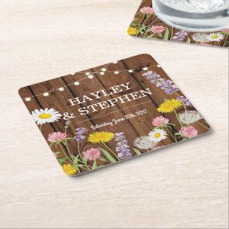 Vilden blommar den Wood ljusbröllopsfesten för Underlägg Papper Kvadrat