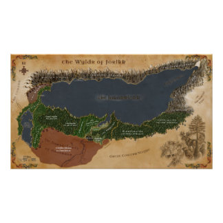 Vilderna av den Jorikk regionkartan Poster