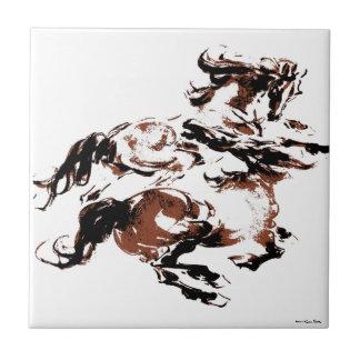 Vildhästar belägger med tegel liten kakelplatta