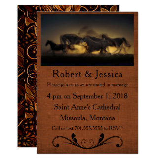 Vildhästspring & western bruntbakgrund 12,7 x 17,8 cm inbjudningskort