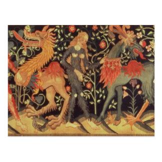 Vildmanar och djur, tapestry, 15th århundrade vykort