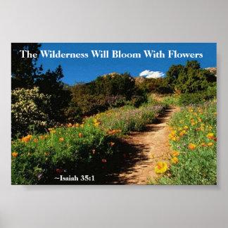 Vildmarken blommar den Isaiah 35:1 Poster