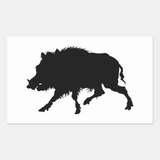 Vildsvin- eller vildgriselegantSilhouette Rektangulärt Klistermärke