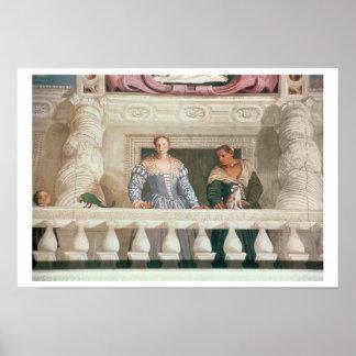 Villa Barbaro. Dam och sjuksköterska på balkongen Poster
