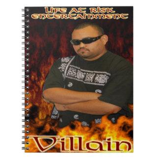 Villainen noterar boken anteckningsbok med spiral