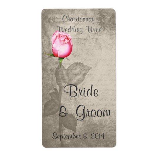 Vin för bröllop för rosa ros för färg för fraktsedel