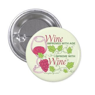Vin förbättrar med ålder mini knapp rund 3.2 cm