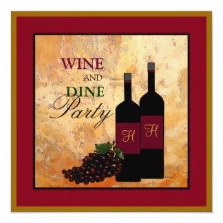 Vin och äter middag partyet fyrkantigt 13,3 cm inbjudningskort