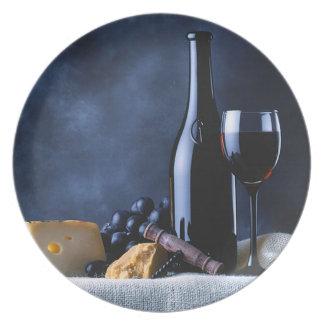 Vin och ost pläterar tallrik