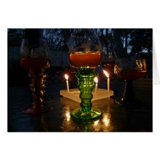 Vin och stearinljus kort