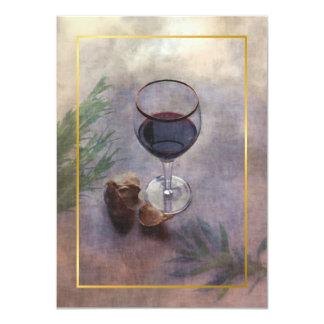 vin- och vitlökmiddaginbjudan 11,4 x 15,9 cm inbjudningskort