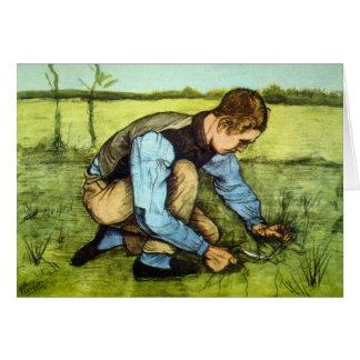 Vincent Van Gogh - bita gräs för pojke med skäran Hälsningskort