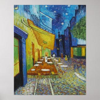 Vincent Van Gogh Cafè terrass på natten Poster