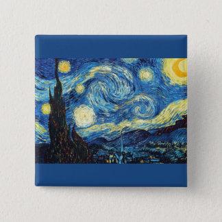 Vincent Van Gogh - den Starry natten knäppas Standard Kanpp Fyrkantig 5.1 Cm