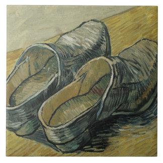 Vincent Van Gogh en para av läderträskor Stor Kakelplatta