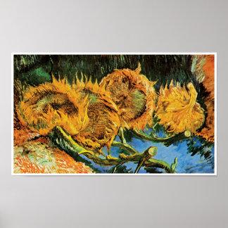 Vincent Van Gogh - konst för fyra klippt solrosor Poster