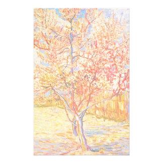 Vincent Van Gogh persikaträd i blommarvintagekonst Brevpapper