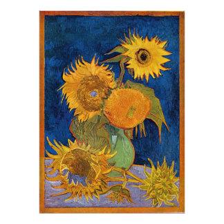 Vincent Van Gogh sex solrosfotoförstoring Fototryck