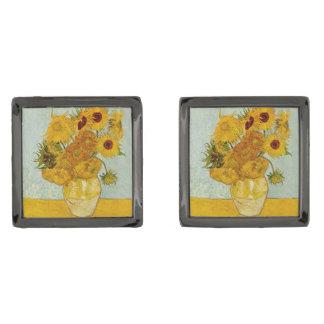 Vincent Van Gogh solrosmålning Stålgrå Pläterade Manschetterknappar
