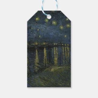 Vincent Van Gogh Starry natt över den Rhone Presentetikett