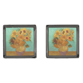 Vincent Van Gogh tolv solrosor i en vas Manschetterknappar Med Metallgråfinish