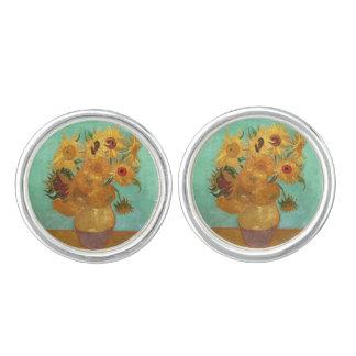 Vincent Van Gogh tolv solrosor i en vas Manschettknappar