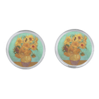 Vincent Van Gogh tolv solrosor i en vas Silverpläterade Manschetterknappar