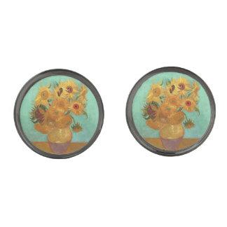 Vincent Van Gogh tolv solrosor i en vas Stålgrå Pläterade Manschetterknappar
