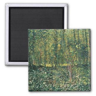 Vincent Van Gogh   träd och undervegetation, 1887 Magnet