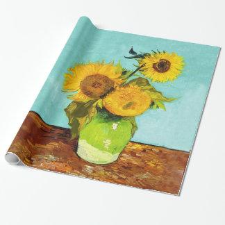 Vincent Van Gogh tre solrosor i en vas Presentpapper