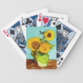 Vincent Van Gogh tre solrosor i en vas Spelkort
