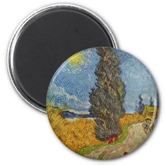 Vincent Van Gogh - väg med Cypresses Magnet