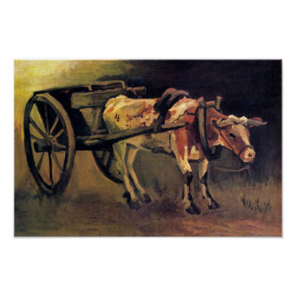 Vincent Van Gogh - vagn med den röd och vitoxen Poster